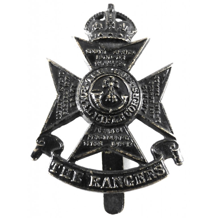 12th London Regiment The Rangers Blackened Cap Badge