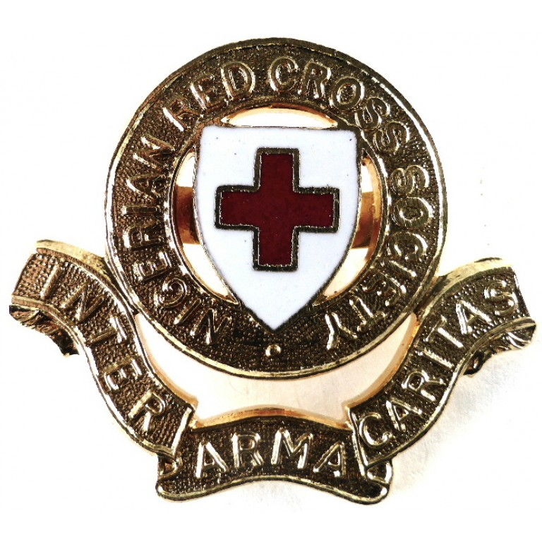 Nigerian Red Cross Brass/Enamel Cap Badge