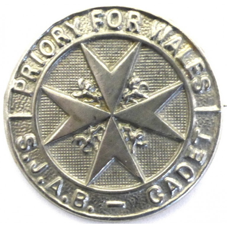 St John Ambulance Brigade Wales Cadet White Metal Cap Badge