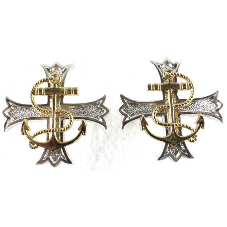 Royal Navy Chaplain Silver/Gilt Plated Collar/Stole Badges