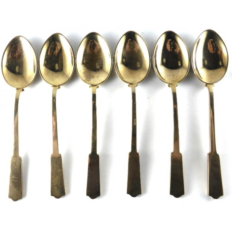 Six Beautiful Gilt/Enamel Tea Spoons