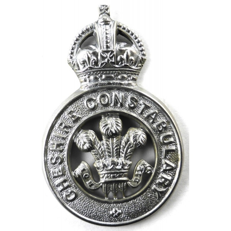 Cheshire Constabulary Chrome Pre 1953 Cap Badge