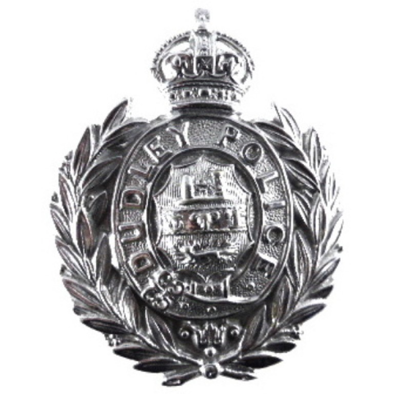 Dudley Police Pre 1953 Chrome Cap Badge