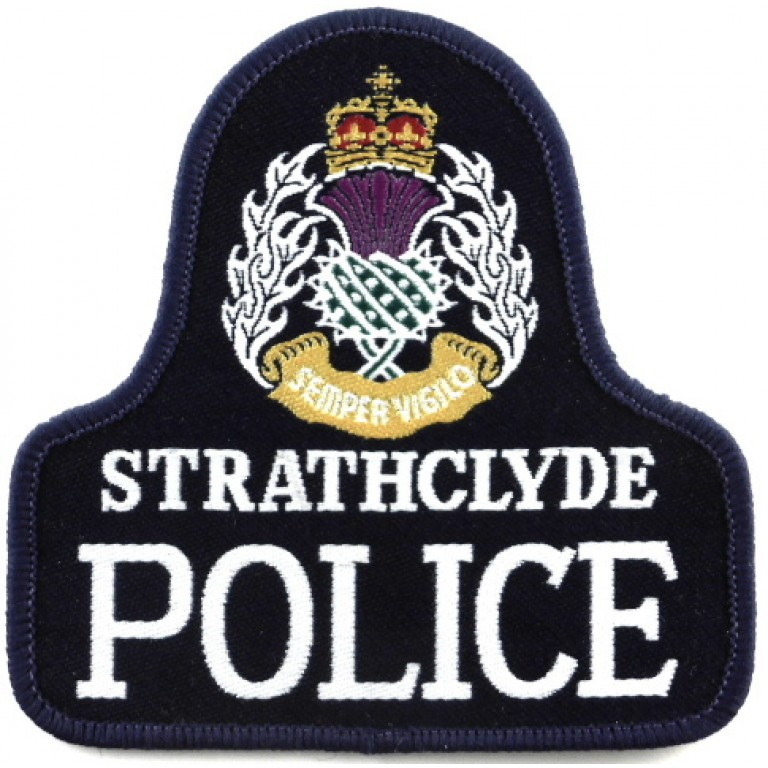 Strathclyde Police Cloth Sweater Patch Large Crown
