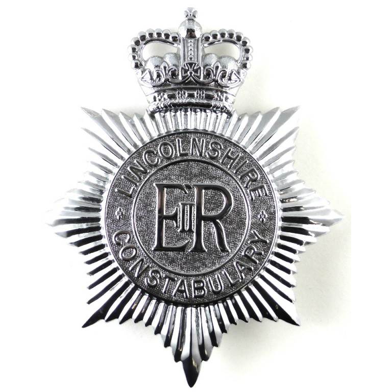 Lincolnshire Constabulary Chrome Helmet Badge