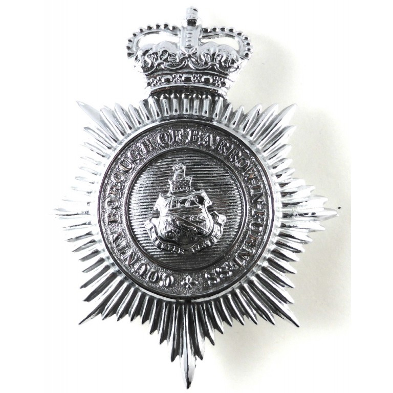 County Borough Of Barrow In Furness Chrome Helmet Badge