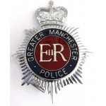 Greater Manchester Police Chrome/Enamel Helmet Badge