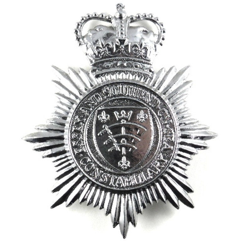 Essex & Southend On Sea Constabulary Chrome Helmet Badge