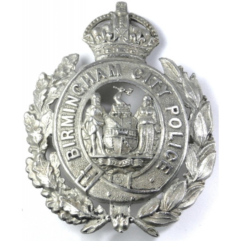 Birmingham City Police White Metal Wreath Helmet Badge