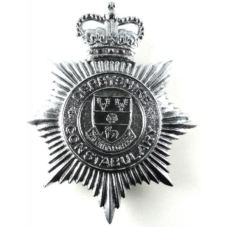 Derbyshire Constabulary Chrome Helmet Badge