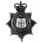 Durham County Constabulary Black/Chrome Helmet Badge