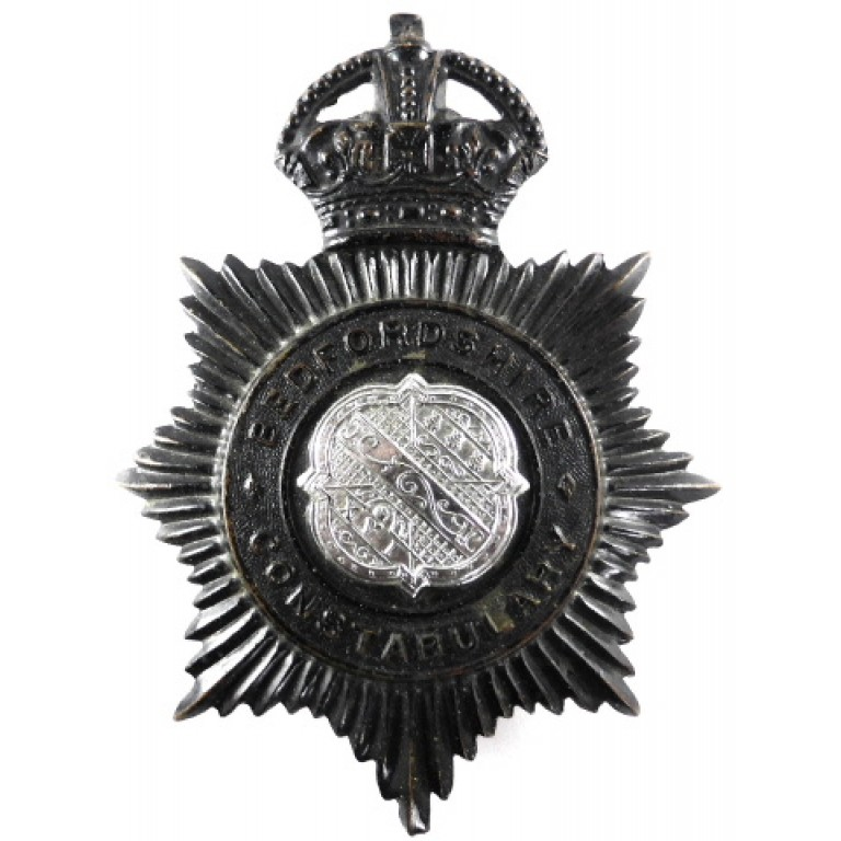 Bedfordshire Constabulary Pre 1953 Blackened Helmet Badge
