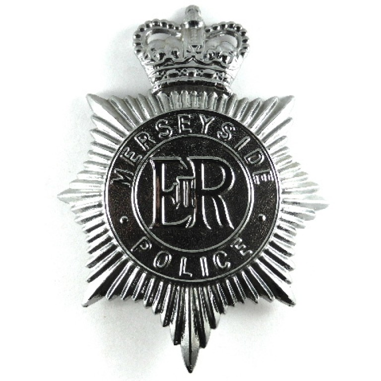 Merseyside Police Plastic Issue Helmet Badge Post 1974