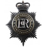 Bedfordshire Constabulary Blackened Brass Helmet Badge Post 1953