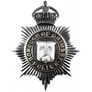 Borough Of Grimsby Police Pre 1953 Blackened Helmet Badge