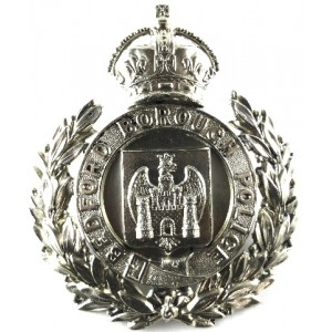 Bedford Borough Police White Metal Helmet Badge