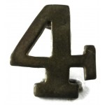 "Brass Number ""4"" For Police Collar 17mm"