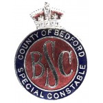 County Of Bedford Special Constable Chrome/Enamel Lapel Badge