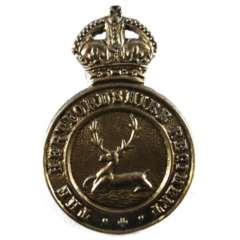 The Hertfordshire Regiment Solid Centre Brass Cap Badge