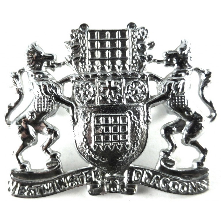 2nd County Of London Westminster TY Dragoons Chrome Cap Badge