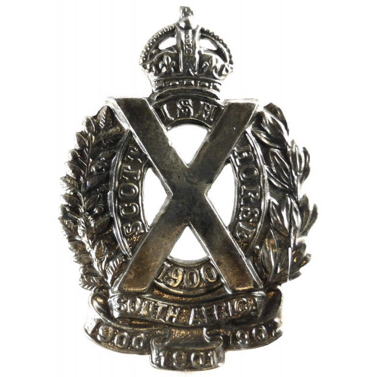 The Scottish Horse White Metal Cap Badge